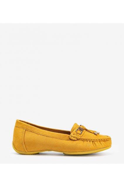 Dámske topánky mokasíny žlté kód H9228 - GM