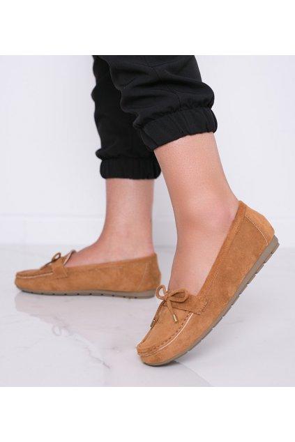 Dámske topánky mokasíny hnedé kód S-981 - GM
