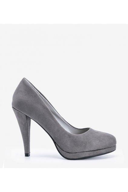 Dámske topánky lodičky sivé kód LEI-201 - GM