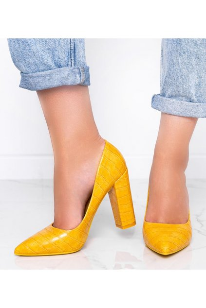 Dámske topánky lodičky žlté kód LY9182-4 - GM