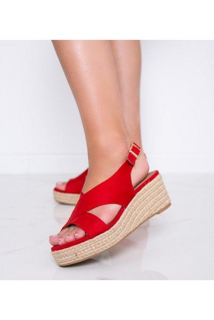Dámske topánky sandále červené kód 9R67 - GM