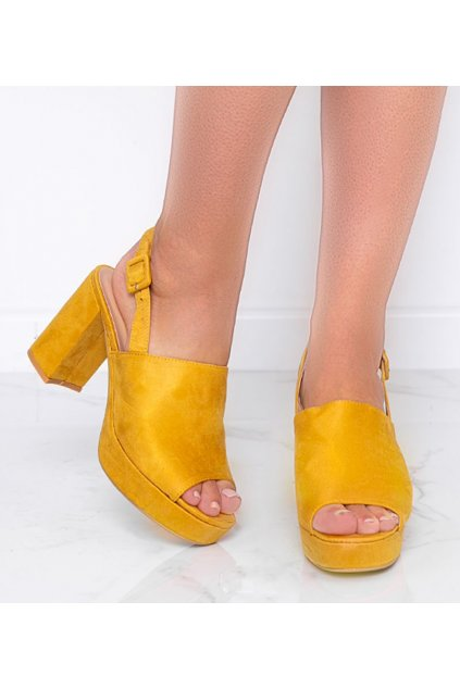 Dámske topánky sandále žlté kód 9R18 - GM