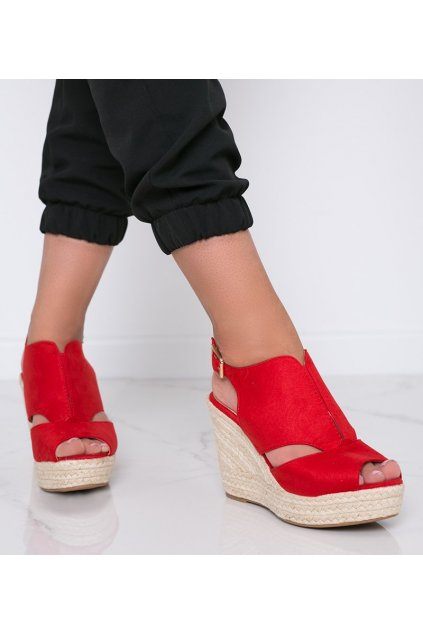 Dámske topánky sandále červené kód 9R109 - GM