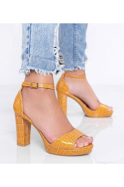 Dámske topánky sandále žlté kód Q763 - GM