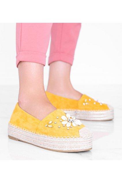 Dámske topánky espadrilky žlté kód 2798 - GM