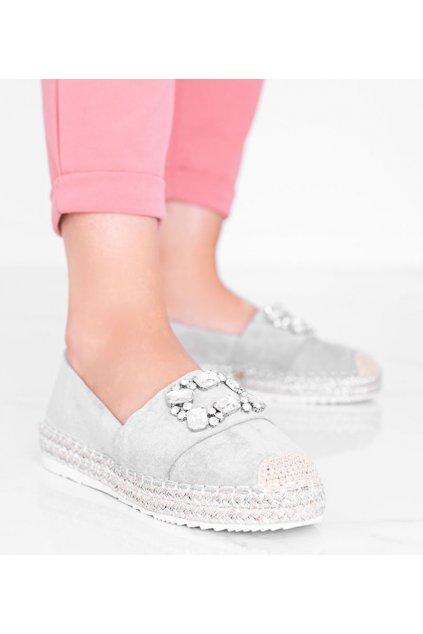 Dámske topánky espadrilky sivé kód Y931-9 - GM