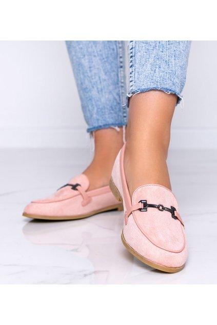 Dámske topánky mokasíny ružové kód 8742 - GM