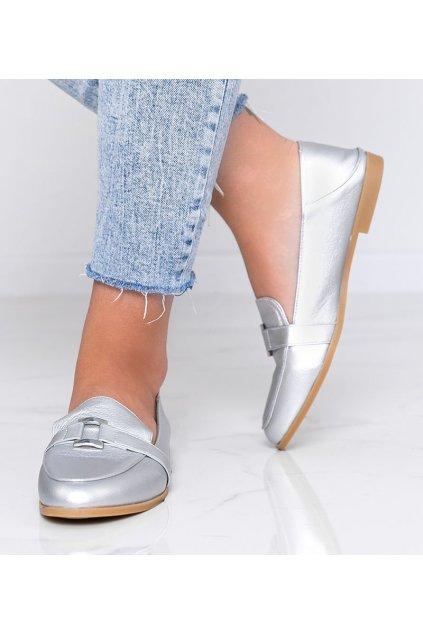 Dámske topánky mokasíny sivé kód 4585 - GM