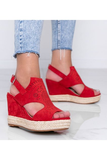 Dámske topánky sandále červené kód FL-023 - GM