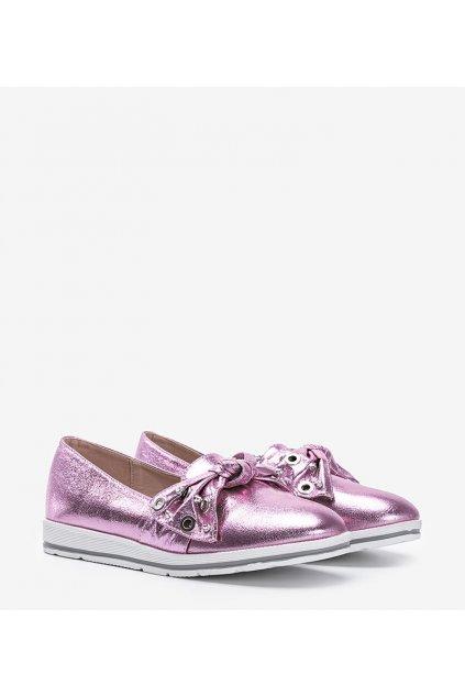 Dámske topánky mokasíny ružové kód 0S-159-4 - GM
