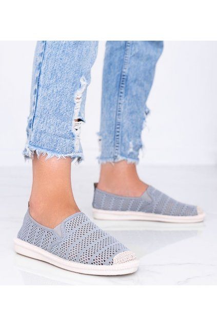 Dámske topánky espadrilky sivé kód F01B-2 - GM