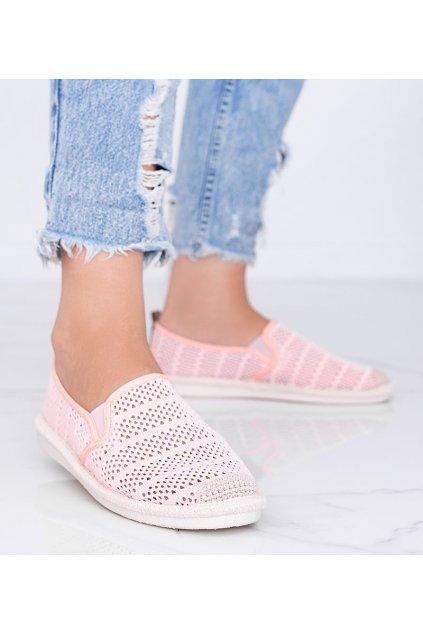 Dámske topánky espadrilky ružové kód F01B-2 - GM