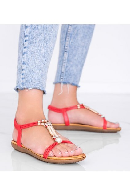 Dámske topánky sandále červené kód H075 - GM