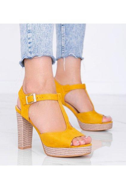 Dámske topánky sandále žlté kód J165 - GM