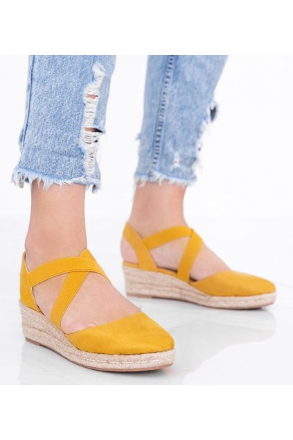 Dámske topánky espadrilky žlté kód 9R65 - GM