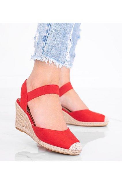Dámske topánky espadrilky červené kód 9R50 - GM