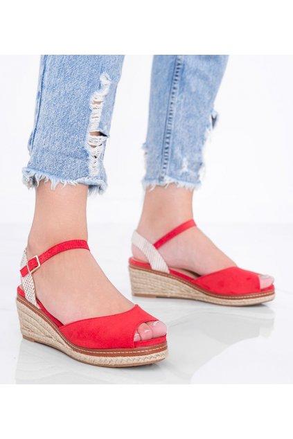 Dámske topánky espadrilky červené kód M-528 - GM