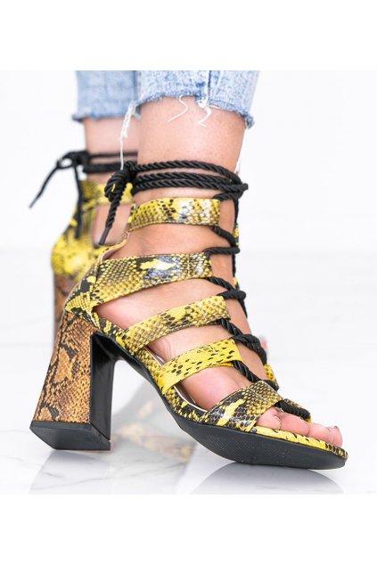 Dámske topánky sandále žlté kód R128P - GM