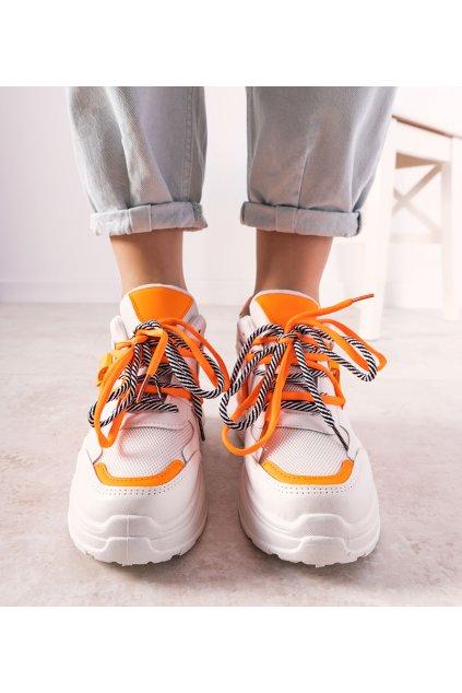 Dámske topánky tenisky oranžové kód 0190-01 - GM