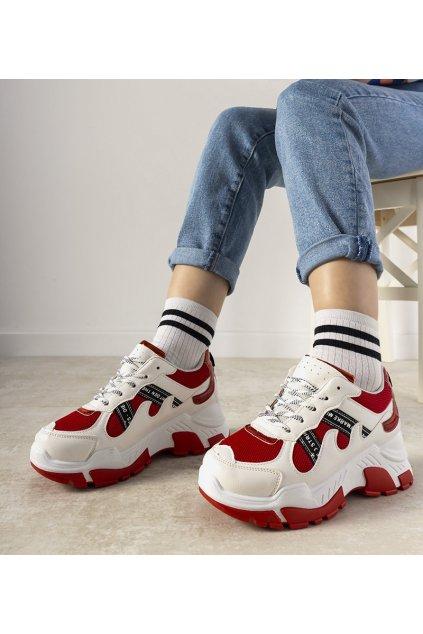 Dámske topánky tenisky červené kód E2015 - GM