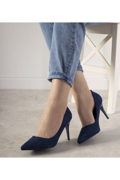 Dámske topánky lodičky modré kód L426 - GM
