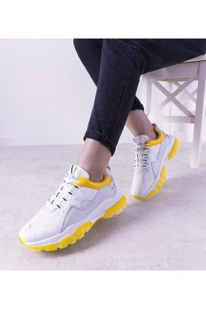 Dámske topánky tenisky žlté kód 9797 - GM