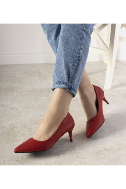 Dámske topánky lodičky červené kód L427 - GM
