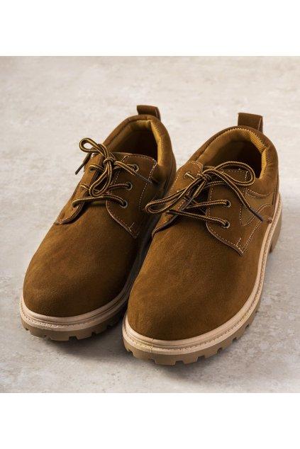 Pánske topánky tenisky hnedé kód 29016 - GM