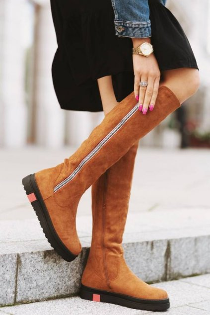 Dámske topánky čižmy hnedé kód - GM