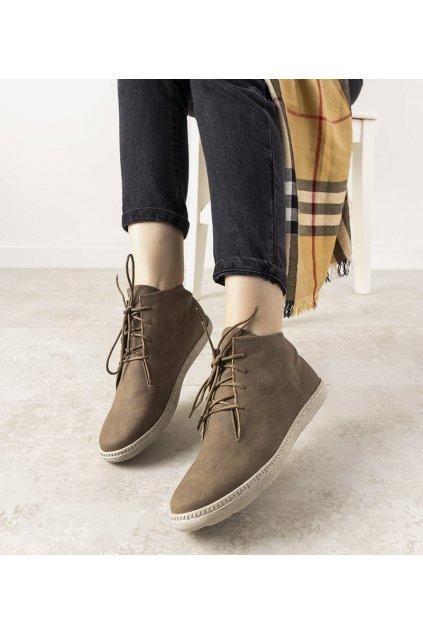 Dámske členkové topánky sivé kód 5969 - GM