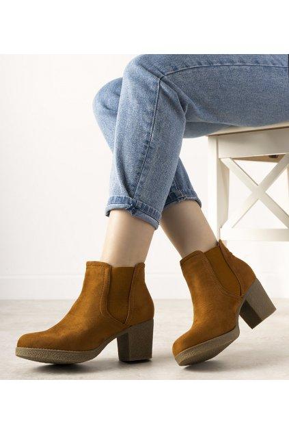 Dámske členkové topánky hnedé kód N18-179 - GM