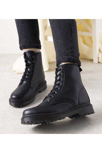 Dámske členkové topánky trapery čierne kód R-906 - GM