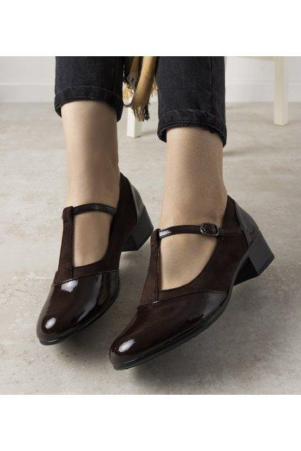 Dámske topánky lodičky hnedé kód L2039-2 - GM