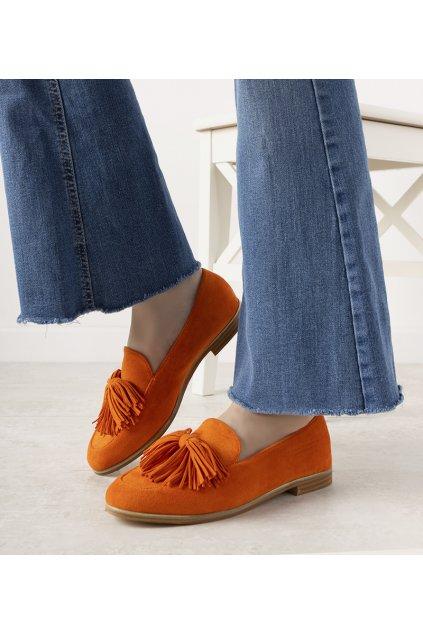 Dámske topánky mokasíny oranžové kód T357P - GM