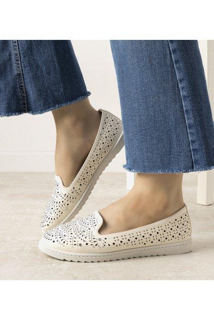 Dámske topánky mokasíny biele kód ZA05P - GM