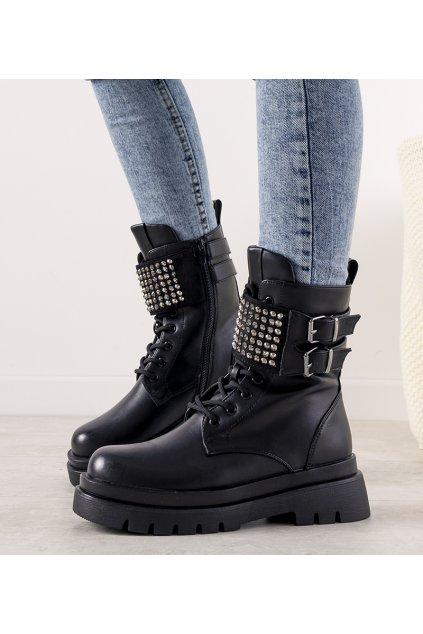 Dámske členkové topánky čierne kód 21BT35-4258 - GM