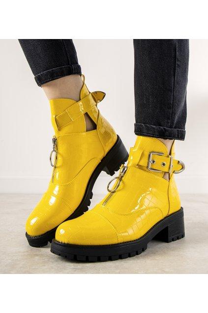Dámske členkové topánky žlté kód 12618-C201ST - GM