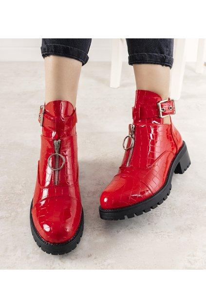 Dámske členkové topánky červené kód 12618-C201ST - GM