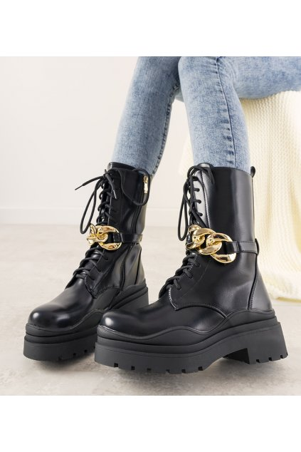 Dámske členkové topánky čierne kód C-189 - GM