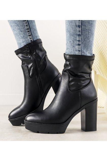 Dámske členkové topánky čierne kód 9532 - GM