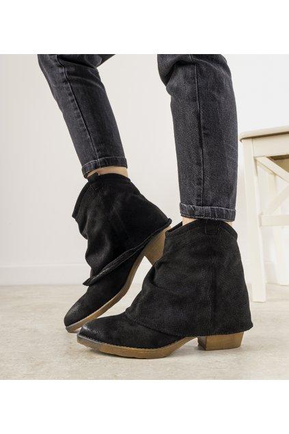Dámske členkové topánky čierne kód D7761 - GM