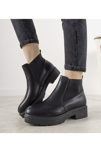 Dámske členkové topánky čierne kód E2163 - GM