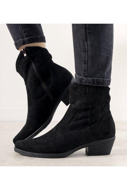 Dámske členkové topánky čierne kód G-7683 - GM
