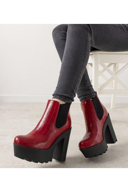 Dámske členkové topánky červené kód 0M293-3 - GM
