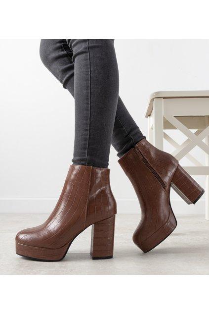 Dámske členkové topánky hnedé kód OM295-4 - GM