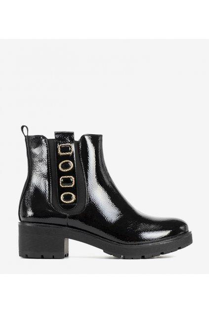 Dámske členkové topánky čierne kód 22-218 - GM