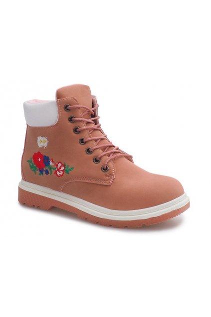 Dámske členkové topánky trapery ružové kód SJ1669-3 - GM