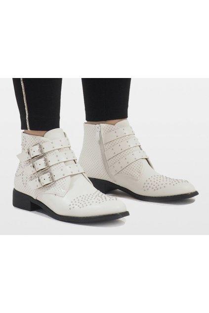Dámske členkové topánky biele kód HQ909 WHITE - GM