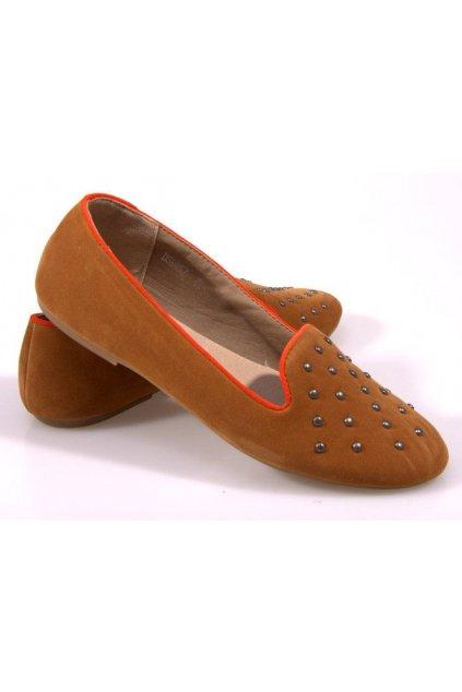 Dámske topánky balerínky hnedé kód - GM