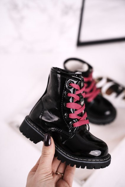Detské členkové topánky farba čierna kód obuvi E08161-1/D08161A-1 BLK/PINK